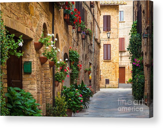 Europe Acrylic Print featuring the photograph Pienza Street by Inge Johnsson