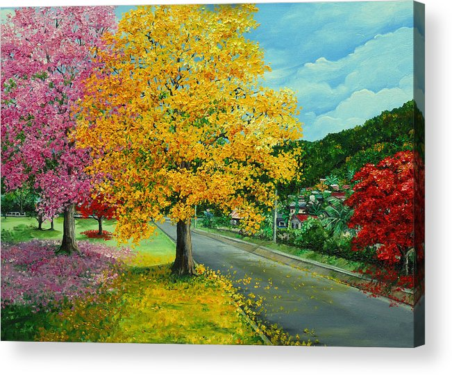 Poui Trees Acrylic Print featuring the painting Poui In Diego by Karin Dawn Kelshall- Best