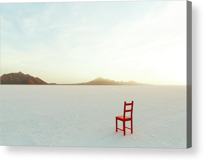 Tranquility Acrylic Print featuring the photograph Red Chair On Salt Flats, Facing The by Andy Ryan