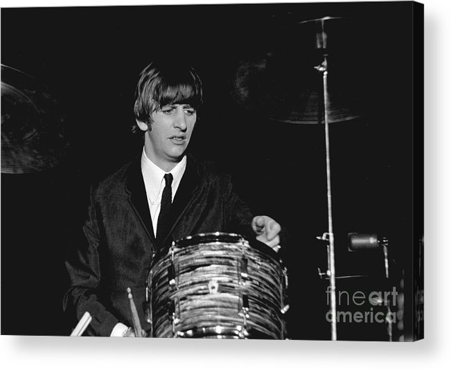 Beatles Acrylic Print featuring the photograph Ringo Starr, Beatles Concert, 1964 by Larry Mulvehill