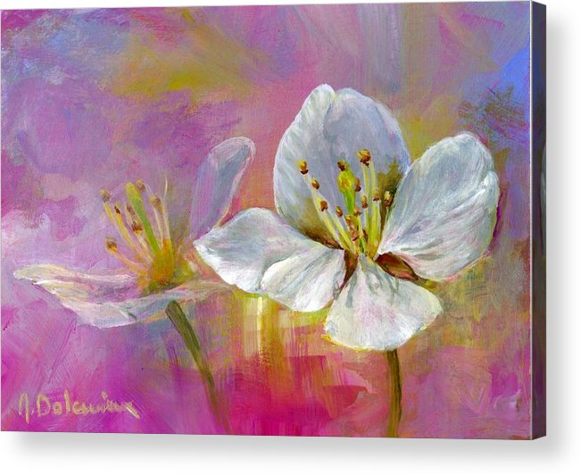 Acrylic Acrylic Print featuring the painting Rose Pecher by Muriel Dolemieux