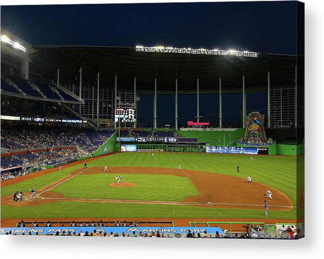 American League Baseball Acrylic Print featuring the photograph San Diego Padres V Miami Marlins by Mike Ehrmann