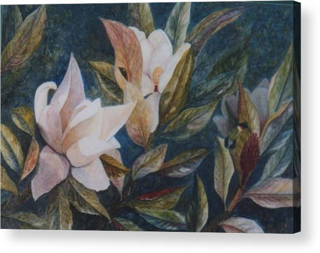 Magnolias; Humming Bird Acrylic Print featuring the painting Serenity by Ben Kiger