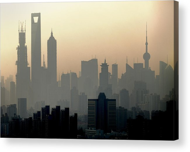 Dawn Acrylic Print featuring the photograph Shanghai Skyline Three Towers And Perl by Douglas Von Roy