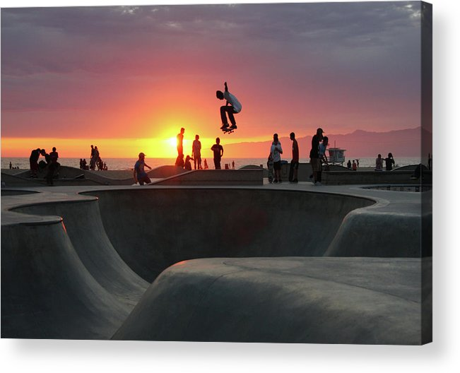 Expertise Acrylic Print featuring the photograph Skateboarding At Venice Beach by Mgs