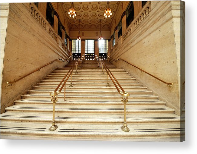 Steps Acrylic Print featuring the photograph Subway Station Staircase,chicago by Lisa-blue