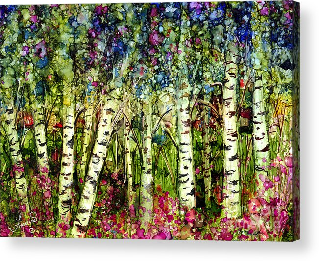 Trees Acrylic Print featuring the painting Summer Birch by Francine Dufour Jones