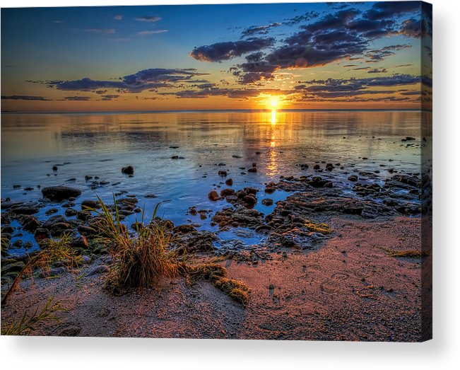 Sun Acrylic Print featuring the photograph Sunrise over Lake Michigan by Scott Norris