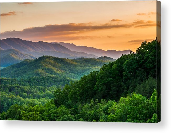 Smoky Mountains Acrylic Print featuring the photograph Sunset In The Smoky's by Paul Johnson