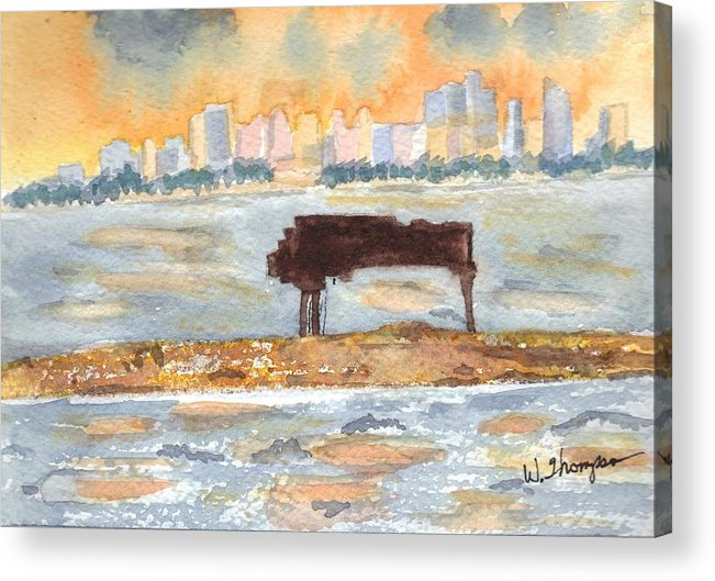 Grand Piano Acrylic Print featuring the painting Sunset Miami Piano Bar by Warren Thompson
