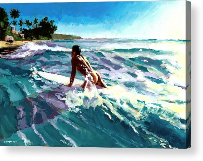 Surfer Acrylic Print featuring the painting Surfer Coming In by Douglas Simonson