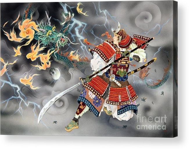 Haruyo Morita Digital Art Acrylic Print featuring the digital art Tatakai by MGL Meiklejohn Graphics Licensing