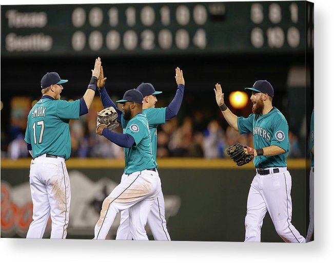 People Acrylic Print featuring the photograph Texas Rangers V Seattle Mariners by Otto Greule Jr