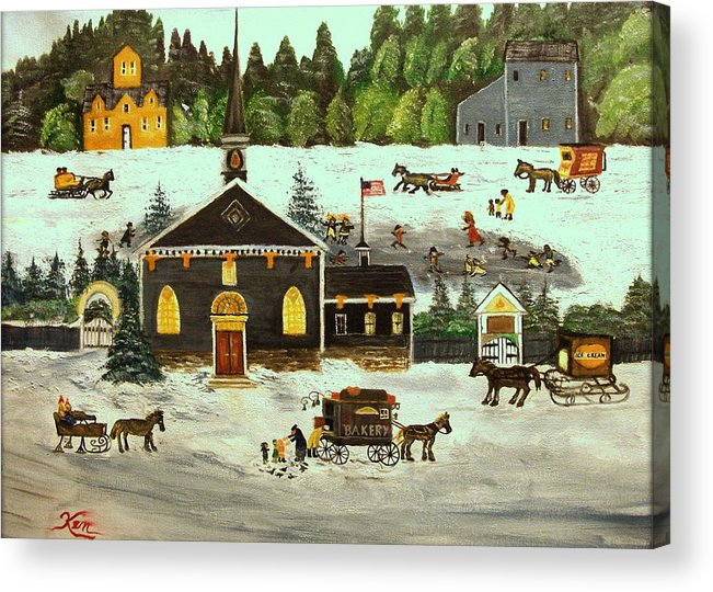 Folk Art Acrylic Print featuring the painting The Church by Kenneth LePoidevin
