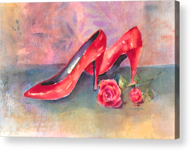 Shoe Acrylic Print featuring the painting The Red Shoes by Arline Wagner