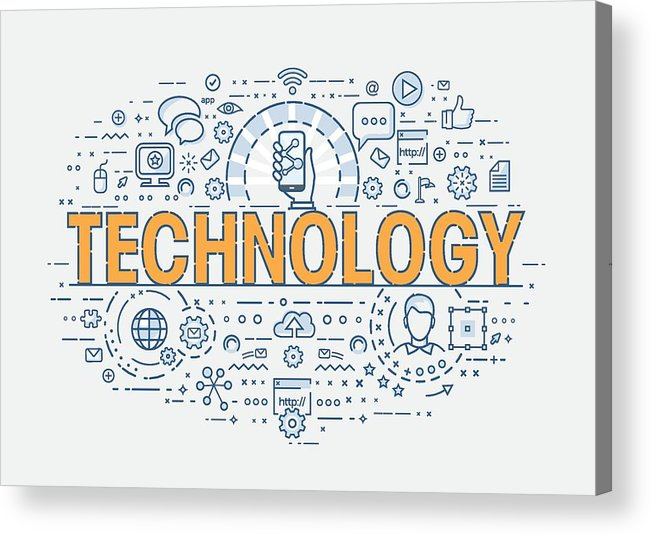 Internet Acrylic Print featuring the drawing Thin Concept - Technology by Creative-Touch