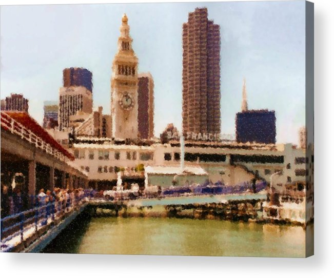 To San Francisco From Sausalito Passing Alcatraz By Ferry_painting Acrylic Print featuring the digital art To San Francisco from Sausalito passing Alcatraz by Ferry_Painting by Asbjorn Lonvig