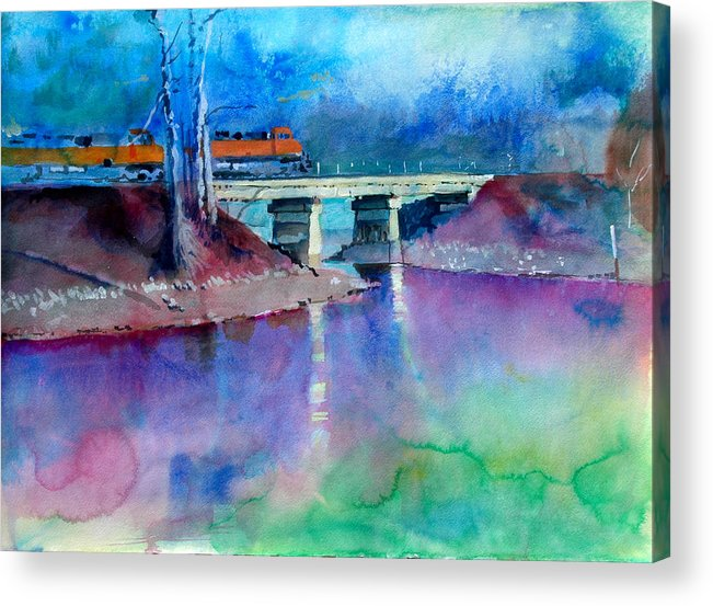 Train Acrylic Print featuring the painting Train Over Sand Creek by Robert Bissett