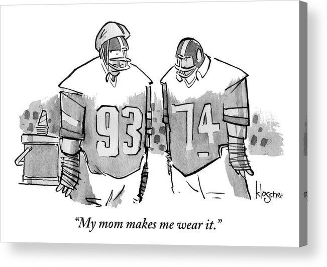 Helmets Acrylic Print featuring the drawing Two Football Players Are Talking To Each Other by John Klossner