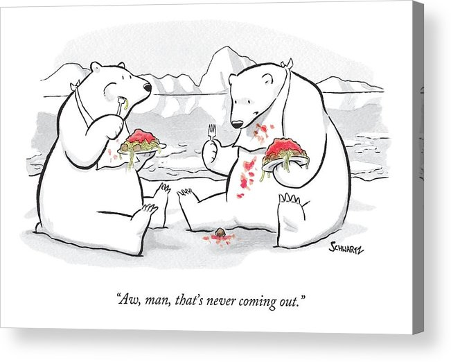 Polar Bears Acrylic Print featuring the drawing Two Polar Bears Eat Spaghetti And Meatballs. One by Benjamin Schwartz