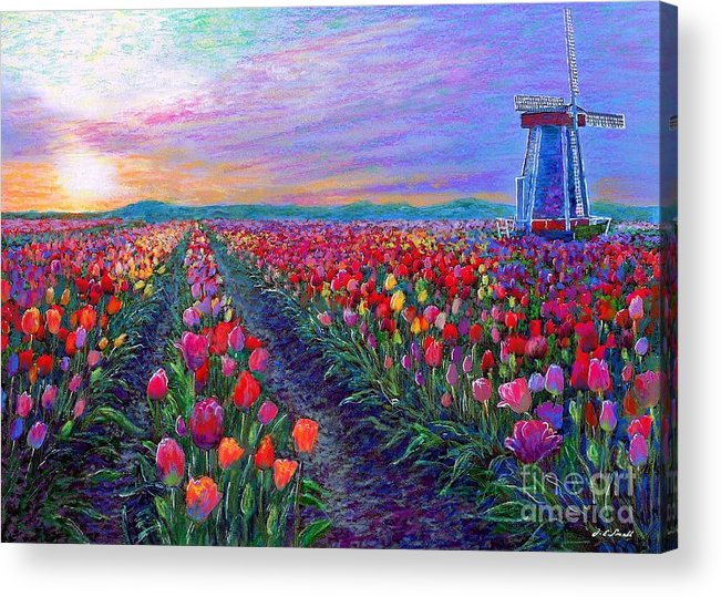 Landscape Acrylic Print featuring the painting Tulip Fields, What Dreams May Come by Jane Small