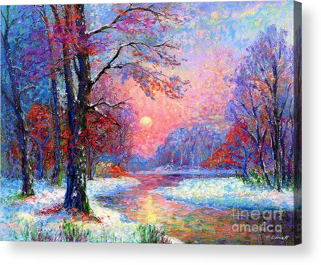 Woodland Acrylic Print featuring the painting Winter Nightfall, Snow Scene by Jane Small