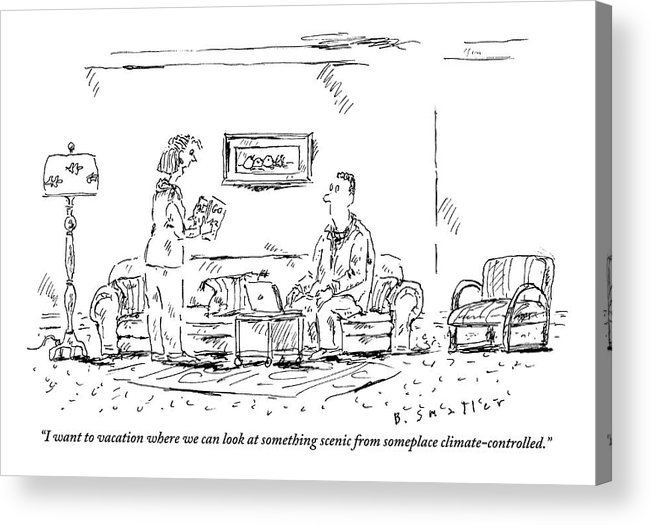 Travel Acrylic Print featuring the drawing Woman Holding Travel Book Speaks To Man In Living by Barbara Smaller