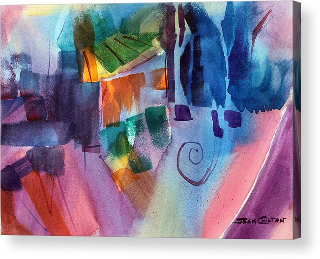 Abstract Watercolor Acrylic Print featuring the painting Huh. by Josh Chilton