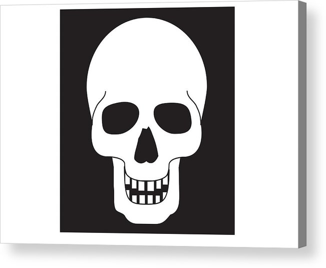 Horizontal Acrylic Print featuring the digital art Black And White Digital Illustration Representing Human Skull by Dorling Kindersley