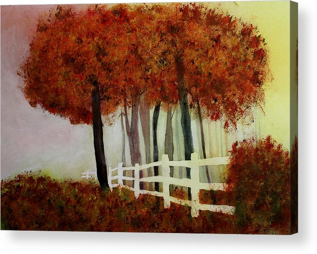 Trees Acrylic Print featuring the painting Colors of Autumn by Mary Gaines