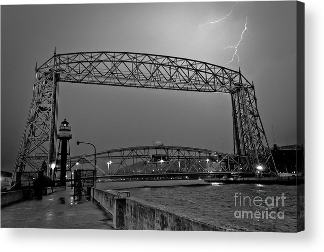 Lift Bridge Acrylic Print featuring the photograph Duluth Lift Bridge Under Lightning by Ever-Curious Photography