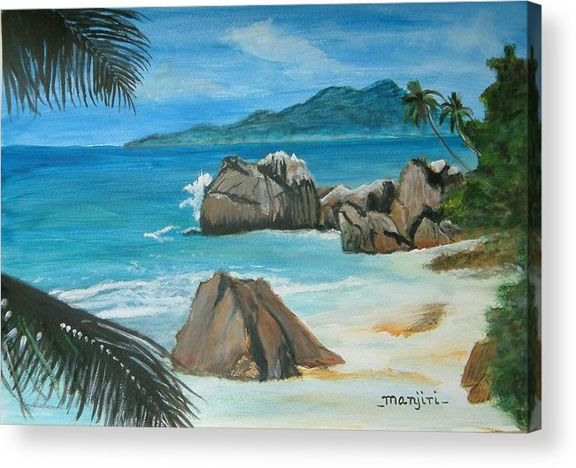 Landscape Beach Summer Water Palm Trees Rocks Waves Mountains Green Blue Sand Acrylic Print featuring the painting Paradise Island by Manjiri Kanvinde