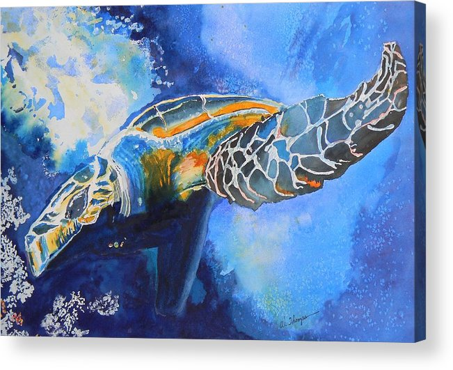 Save The Turtles Acrylic Print featuring the painting Save The Turtles by Warren Thompson