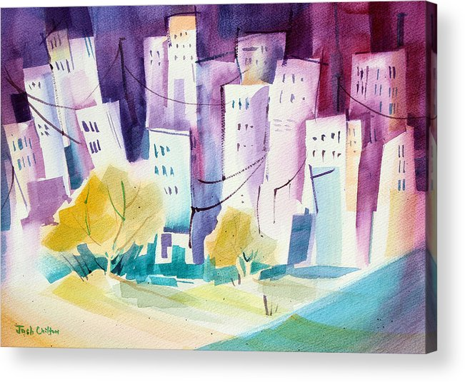 Cityscape Acrylic Print featuring the painting Skip To The City. by Josh Chilton