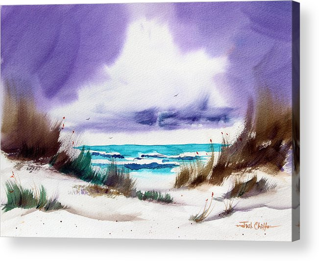 Beach Landscape Acrylic Print featuring the painting Storm's Coming. by Josh Chilton