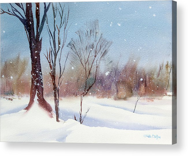 Winter Landscape Acrylic Print featuring the painting Today's Blanket. by Josh Chilton