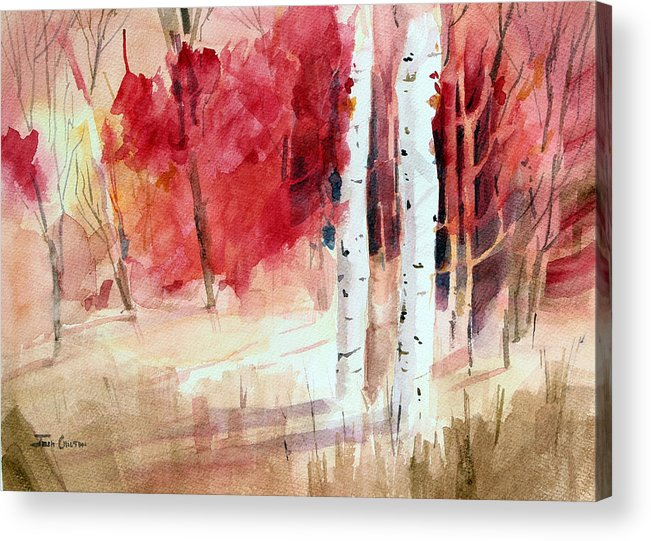 Autumn Landscape Acrylic Print featuring the painting Two Sticks. by Josh Chilton