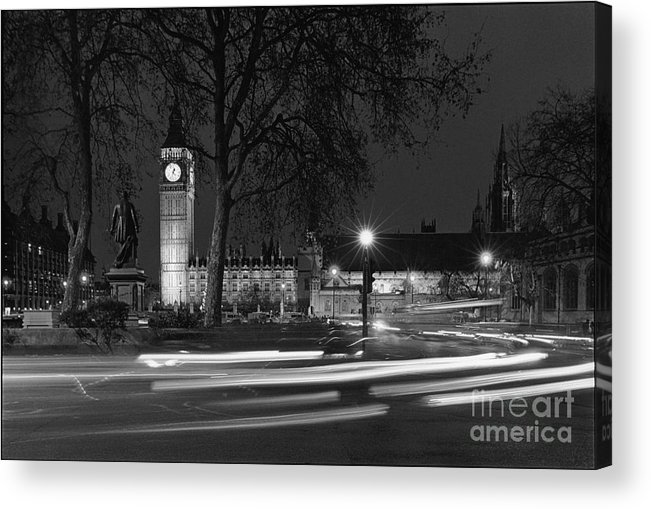 Westminster Palace Acrylic Print featuring the photograph Westminster Night Traffic by Aldo Cervato