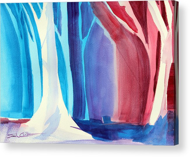 Winter Impressionism Acrylic Print featuring the painting Winter Hike. by Josh Chilton