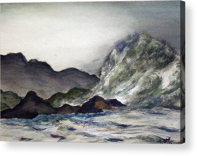 Ocean Acrylic Print featuring the painting Ocean Emotion Release by Tammera Malicki-Wong