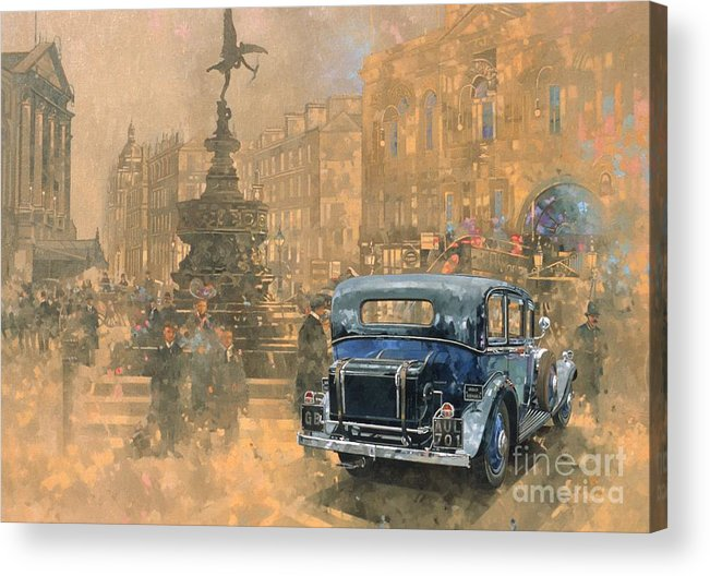 Rolls Royce; Car; Vehicle; Vintage; Automobile; Fountain; West End; London; Piccadilly Circus; Classic Cars; Vintage Cars; Nostalgia; Nostalgic; London Acrylic Print featuring the painting Phantom in Piccadilly by Peter Miller