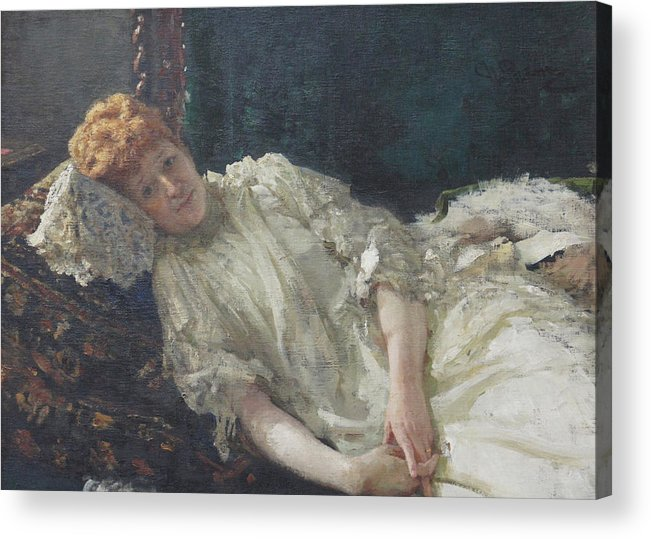Ilya Repin Portrait Acrylic Print featuring the painting Portrait of the Pianist Louisa Mercy D'argenteau by Ilya Repin