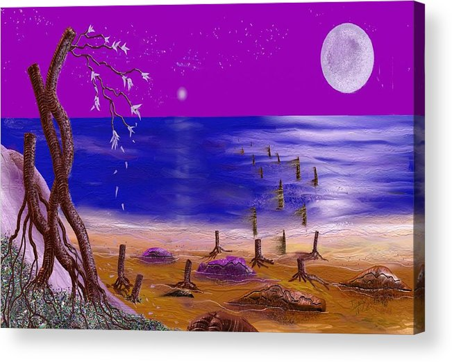 Surealism Acrylic Print featuring the digital art Surreal Seascape by Tony Rodriguez