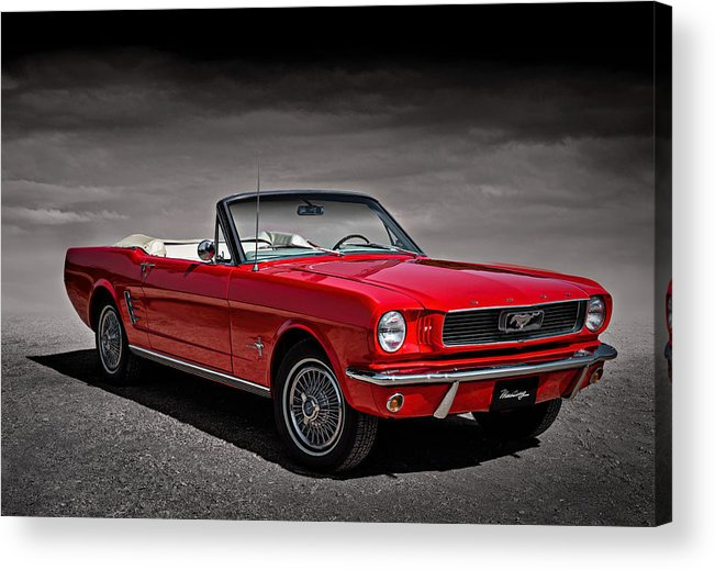 Mustang Acrylic Print featuring the digital art 1966 Ford Mustang Convertible by Douglas Pittman