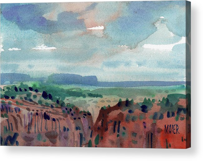 Canyon De Chelly Acrylic Print featuring the painting Canyon Overlook by Donald Maier