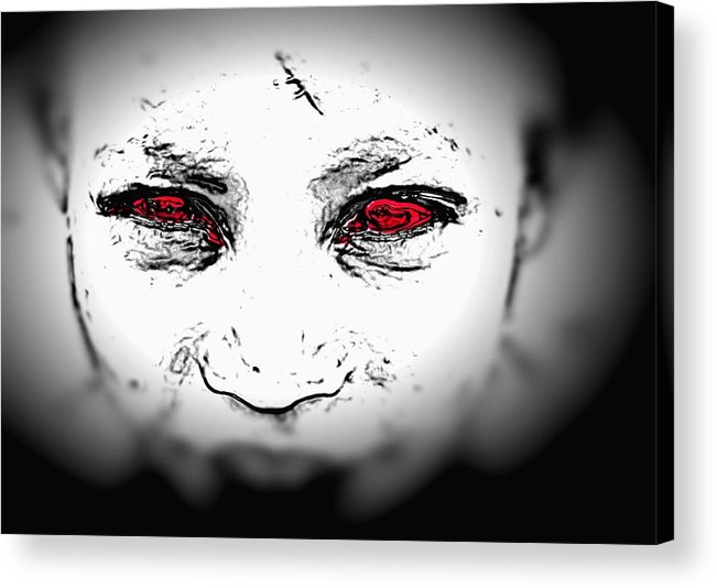 Eyes Face Looks Black And White Red Acrylic Print featuring the digital art Untitled 2 by Veronica Jackson