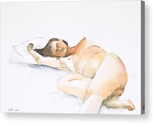 Sleeping Figure Acrylic Print featuring the painting Nude Series by Eugenia Picado