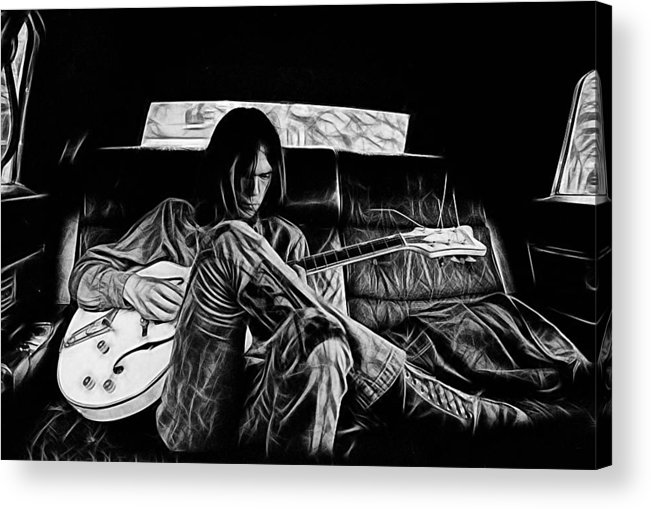 Neil Young Acrylic Print featuring the mixed media Neil Young Collection by Marvin Blaine