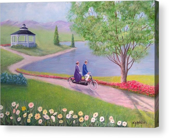 Landscape Acrylic Print featuring the painting A Ride In The Park by William H RaVell III