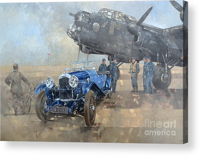 Car; Vehicle; Airplane; Aeroplane; Plane; Military; Air Force; Vintage; Classic Cars; Vintage Car; Nostalgia; Nostalgic; Blue Lagonda Acrylic Print featuring the painting Able Mable and the Blue Lagonda by Peter Miller